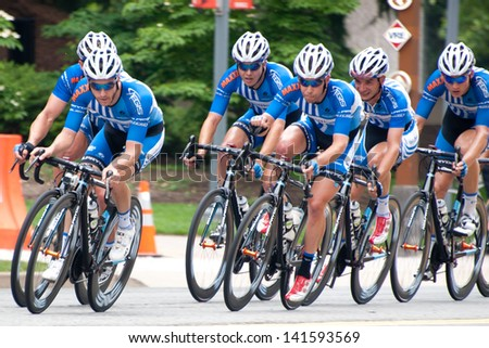 ARLINGTON, VIRGINIA - JUNE 9: Cyclists compete in the Men's Pro/1 race at the Air Force Cycling Classic on June 9, 2013 in Arlington, Virginia