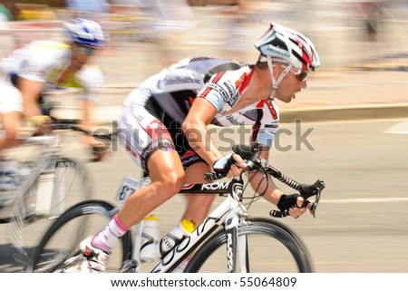 ARLINGTON, VIRGINIA - JUNE 12: Cyclists compete in the U.S. Air Force Cycling Classic on June 12, 2010 in Arlington, Virginia. - stock photo