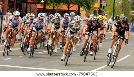 ARLINGTON, VIRGINIA - JUNE 11: Cyclists compete in the U.S. Air Force Cycling Classic on June 11, 2011 in Arlington, Virginia - stock photo