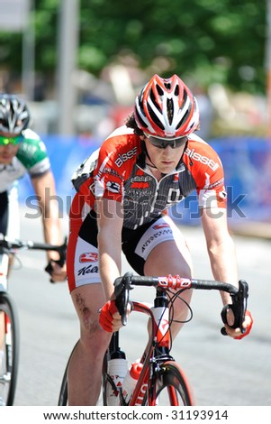 ARLINGTON, VIRGINIA, MAY 30: A cyclist competes in the U.S. Air Force Cycling Classic on May 30, 2009 in Arlington, Virginia