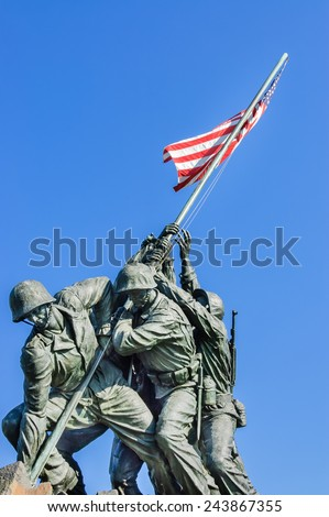 Arlington, Virginia, USA - June 24th, 2007 : front view of Iwo Jima Memorial dedicated to the U.S. Marines corps located near Arlington cemetery, across the Potomac river from Washington, D.C. - stock photo
