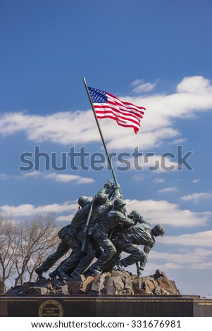ARLINGTON, VIRGINIA, USA - MARCH 4, 2013:  Iwo Jima U.S. Marine Corps War Memorial in Rosslyn, a military memorial statue. - stock photo
