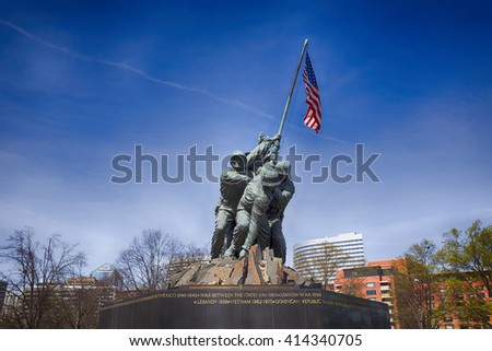 ARLINGTON, VIRGINIA, USA - MARCH 30, 2016. Iwo Jima U.S. Marine Corps War Memorial in Rosslyn, a military memorial statue. HDR effect. Editorial image only