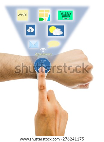 arm and connected to a smart clock and white applicationsgroup of smart phones with multiple applications.All screen content is designed by me and not copyrighted by others and created  - stock photo