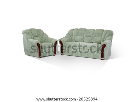arm-chair and sofa with wooden protective straps on a white background - stock photo