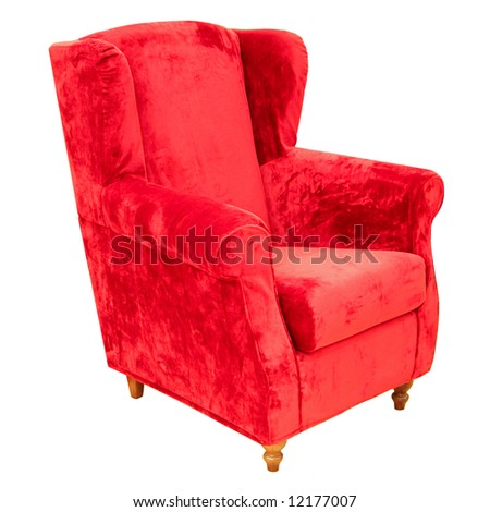Arm chair made from red plush isolated - stock photo