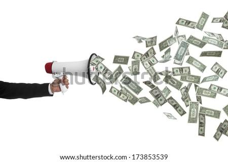 Arm holding megaphone speaking money, money talks, - stock photo