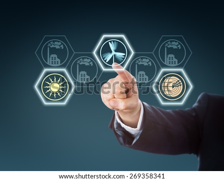 Arm in corporate suit raising index finger to push a wind energy button in touch screen interface. Wind, solar and geothermal power icons lighting up, while traditional power stations remain inactive. - stock photo