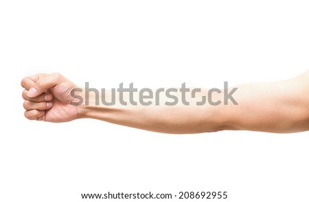 Arm in fist action on white background, body part - stock photo