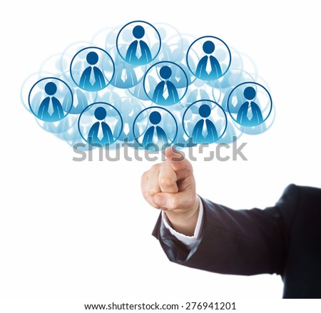 Arm of a business man in blue suit is connecting to a host of office worker icons that form a virtual cloud. Technology metaphor for human resources pooling and scalability. Cutout isolated on white. - stock photo