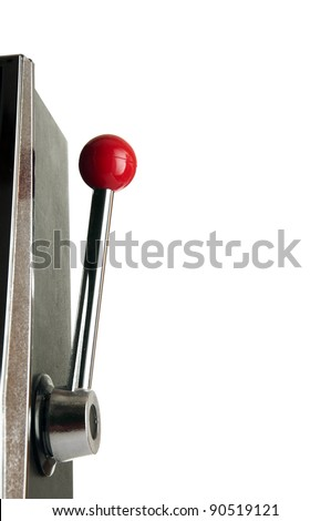 Arm of a slot machine isolated on white background - stock photo