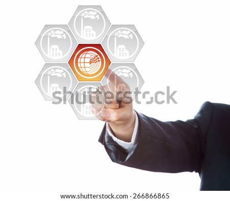 Arm of business person aiming index finger at a geothermal energy icon at the center of a virtual interface. Hexagonal buttons with grey smoking factory symbols surround the geothermal power key. - stock photo