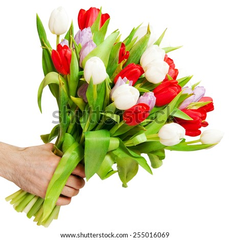 arm of man giving bouquet - stock photo