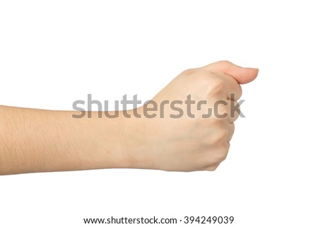 Arm of young girl on white background close up. - stock photo