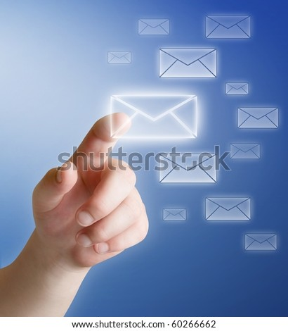 arm press button in envelope icon on touch screen - stock photo