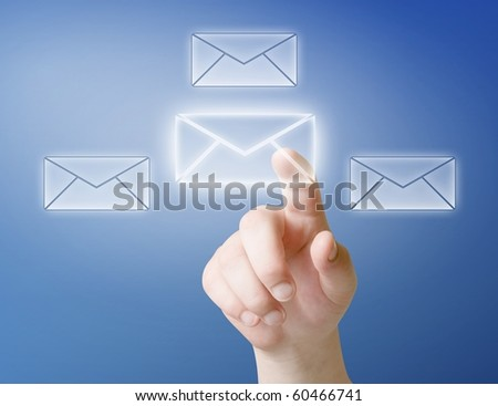 arm press button in envelope icon on touch screen