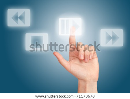 arm press button, touch screen - stock photo