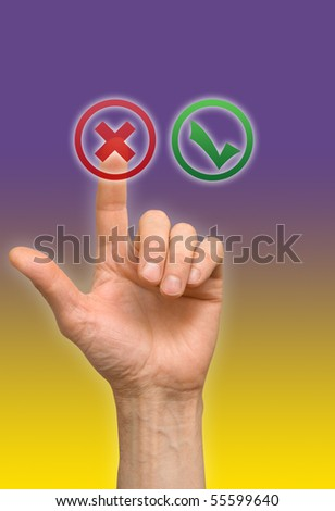 arm press on button - stock photo