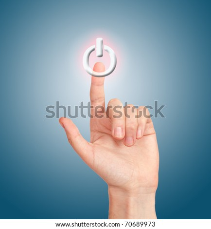 arm press on button on-off - stock photo