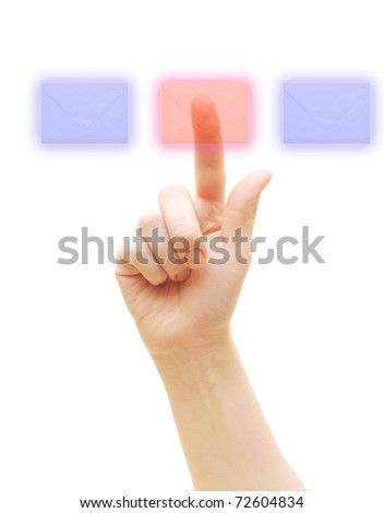 arm press on envelope isolated on white - stock photo