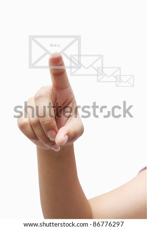arm press the icon of letter - stock photo