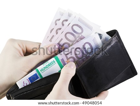 arm pulls from her purse euro isolated on a white background