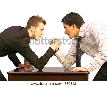 arm restling business men - stock photo