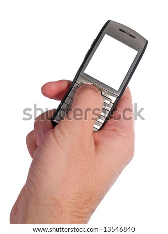 arm typing on the smartphone isolated on white - stock photo