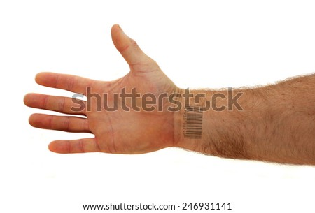arm with bar code tattoo on the inside of the wrist isolated on white background - stock photo