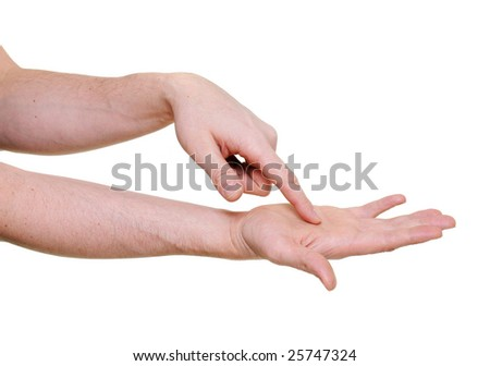 arm with pointing finger inside palm over white background