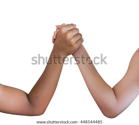 Arm wrestling isolated on white background - stock photo