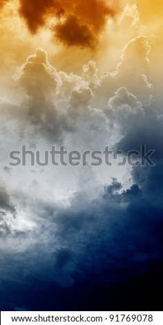 Armageddon background - dramatic sky with light from above. Mayan apocalypse 2012, Nostradamus armageddon 2012, armageddon bible - stock photo