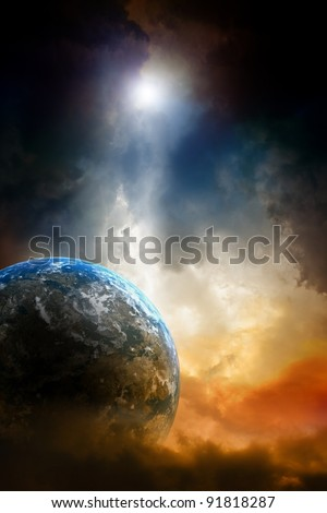 Armageddon background - planet earth in dark sky.
