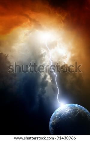 Armageddon background - planet Earth in space. Climate change, mayan apocalypse 2012, Nostradamus armageddon 2012, armageddon bible - stock photo