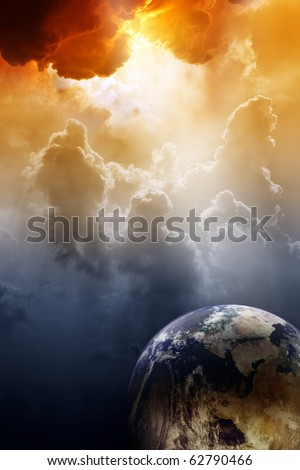 Armageddon background - planet Earth in space. Global warming, climate change, mayan apocalypse 2012, Nostradamus armageddon 2012, armageddon bible, stop global warming - stock photo
