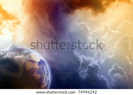 Armageddon, dramatic dark background - planet Earth disaster