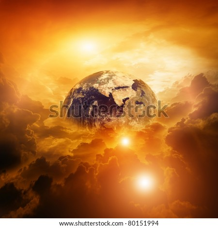 Armageddon, dramatic dark background - planet Earth disaster - stock photo