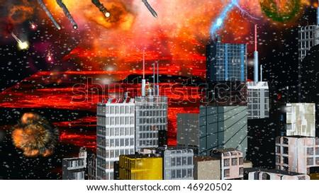Armageddon in the city - stock photo