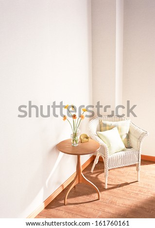 armchair and table interior - stock photo