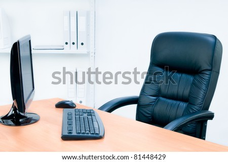 Armchair and table, isolated on white background, isolated monitor