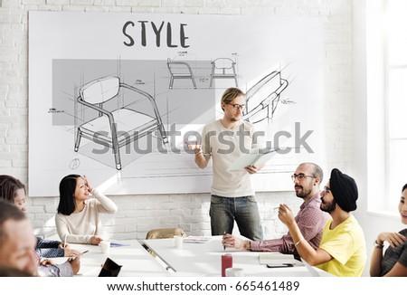 furniture sketch armchair furniture sketch plan draft stock illustration 571856164