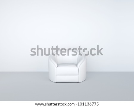 armchair in white interior - stock photo