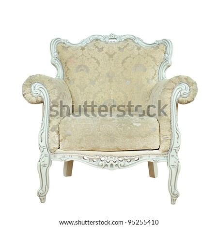 Armchair - Luxurious interior furniture isolated on white background - stock photo