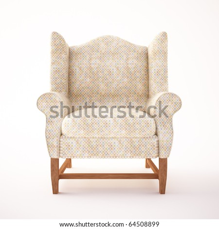 armchair,retro style,isolated on white,3d render - stock photo