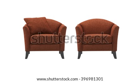 Armchair, with and without pillow, isolated on white background.