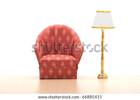 armchair with lamp - stock photo