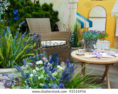 armchair with lavender - stock photo