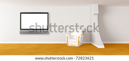 armchair with lcd TV in modern minimalist interior - stock photo
