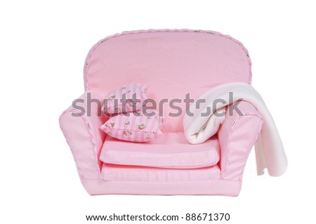 Armchair with pillows and  blanket, isolated - stock photo