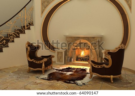 Armchairs by fireplace in modern interior - stock photo